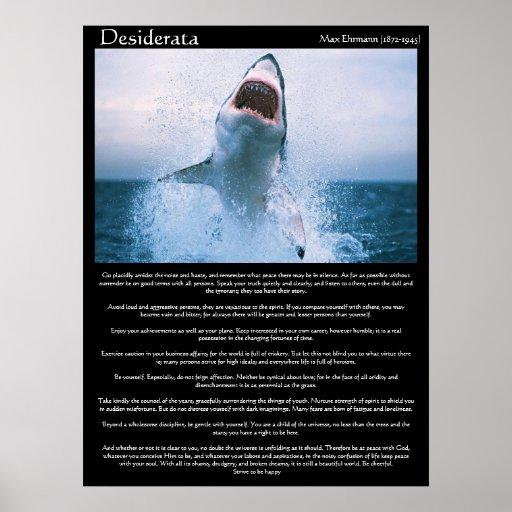 Desiderata shark jumping Posters Poster