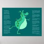 Desiderata - Skipping Green Alien Monster Print