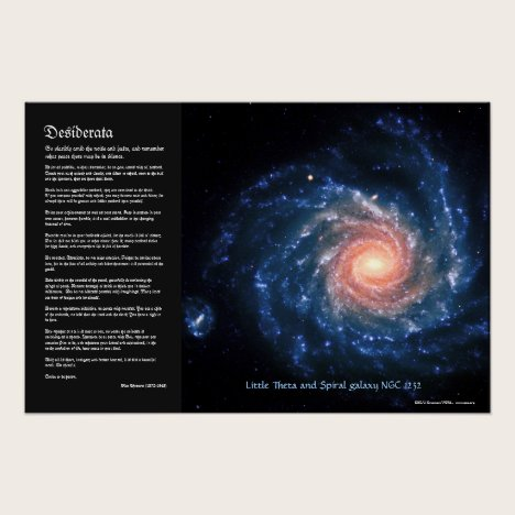 Desiderata, Spiral galaxy NGC1232 and Little Theta Poster