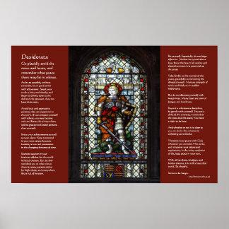 Desiderata, St George, Dragon stained glass window Print