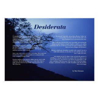 Desiderata Tree by Lake Poster