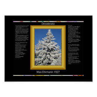 DESIDERATA Tree In White Snow Posters