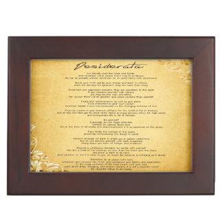 """Desiderata"" Vintage Floral Parchment Personalized Memory Box"