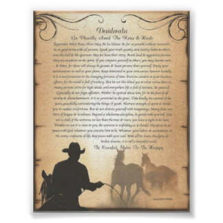DESIDERATA Western Swing Rodeo Cowboy Horse Roping Poster