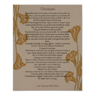 Desiderata with calla lilies print