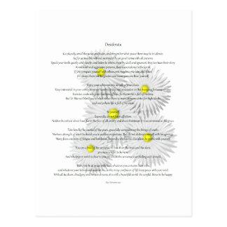Desiderata with Daisies Postcard