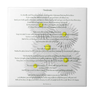 Desiderata with Daisies Small Square Tile
