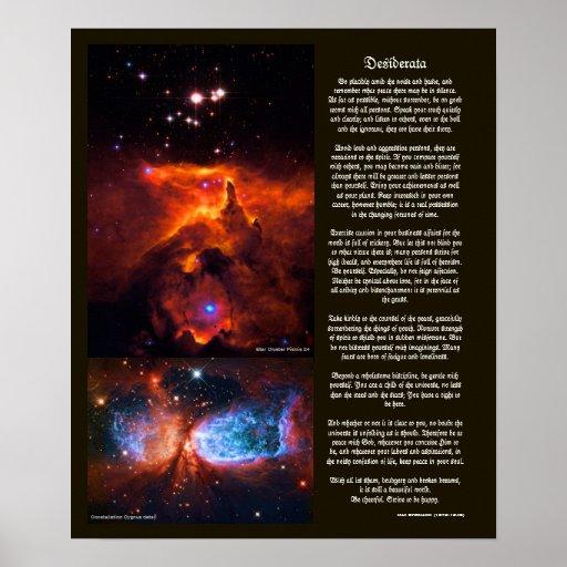 Desiderátums - belleza del espacio exterior de las póster