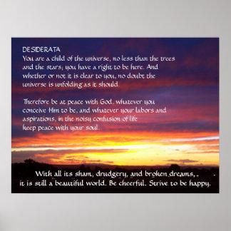 DESIDERÁTUMS de la puesta del sol Póster
