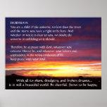 DESIDERÁTUMS de la puesta del sol Posters