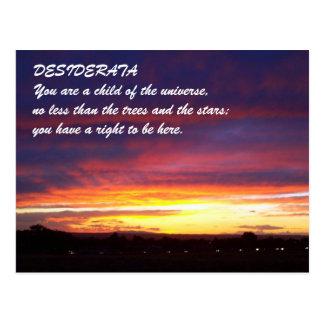 DESIDERÁTUMS de la puesta del sol Postal