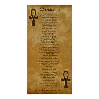 Desiderátums en el fondo Ankh de la mirada del per Perfect Poster