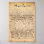 DESIDERÁTUMS en el papel de madera grabado en reli Posters