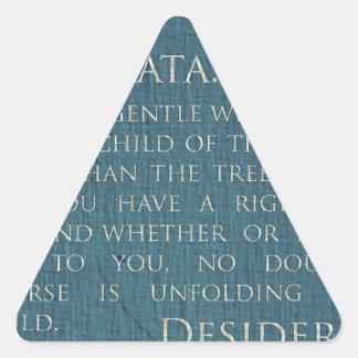 Desiderátums en lona pegatina triangular