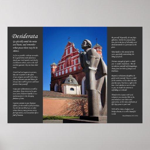 Desiderátums - iglesia y estatua póster