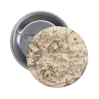 Desidia (pereza) por Pieter Bruegel la anciano Pin Redondo De 2 Pulgadas