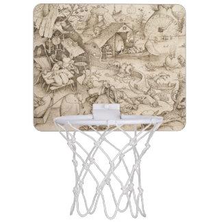 Desidia (Sloth) by Pieter Bruegel the Elder Mini Basketball Backboard