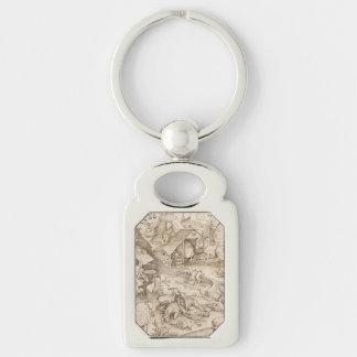 Desidia (Sloth) by Pieter Bruegel the Elder Silver-Colored Rectangular Metal Keychain