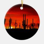 Desierto Arizona de Sonoran de los Saguaros de la Adorno Navideño Redondo De Cerámica