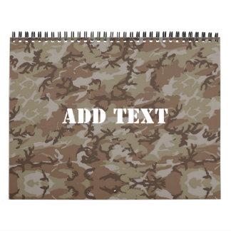 Desierto MilitaryCamouflage del arbolado Calendario De Pared