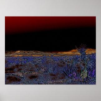 Desierto púrpura en la noche póster