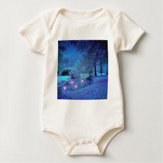 Desierto púrpura escarchado de la escena del mameluco de bebé