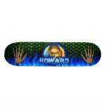 Desig azul del fuego del cráneo de Howard y del mo Tabla De Skate