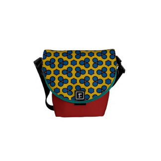 Design 02 Yellow Blue Circles Hexagon Tiled Repeat Courier Bag
