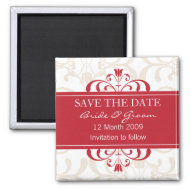 DESIGN 04- Colour: Red and White Save the date Fridge Magnets