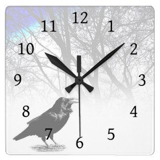 Design 12 Crow Raven Square Wall Clock