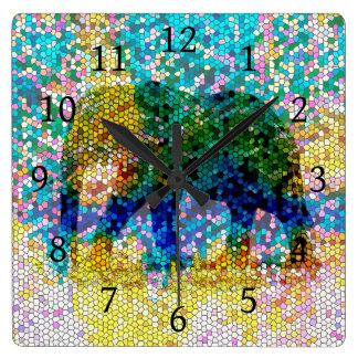 Design 37 Mosaic Elephant Square Wall Clock