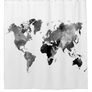 Design 42 World Map Grey Scale Shower Curtain