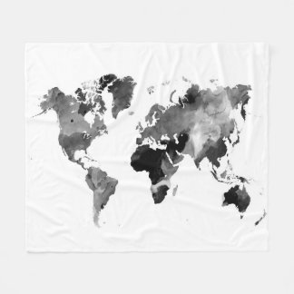Design 42 World Map Greyscale Fleece Blanket