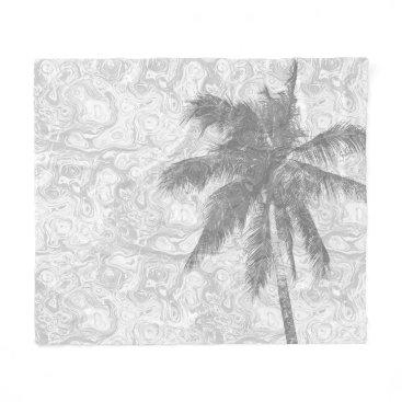 Beach Themed Design 67 grey palm tree fleece blanket