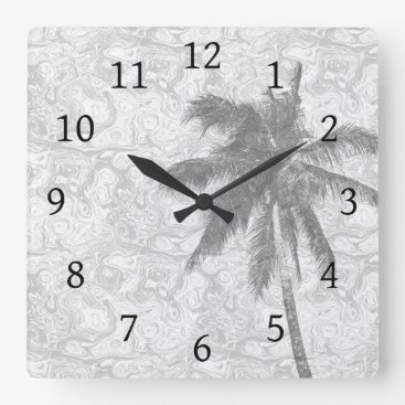 Beach Themed Design 67 palm tree square wall clock