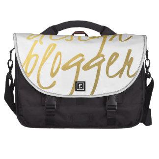 Design Blogger - Gold Script Laptop Messenger Bag