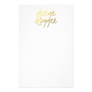 Design Blogger - Gold Script Stationery