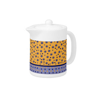 design blue orange and with flowers teapot