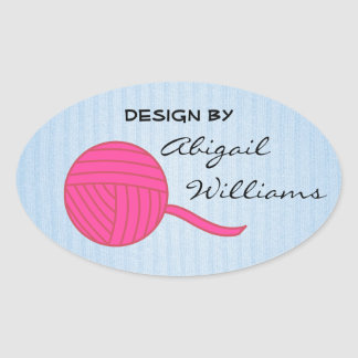 Design By... Pink Ball of Yarn and Baby Blue Knit Oval Sticker