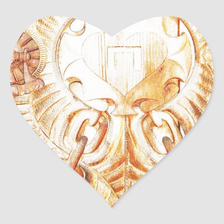 Design Crave Carving Craft wood Natural Brown Text Heart Sticker