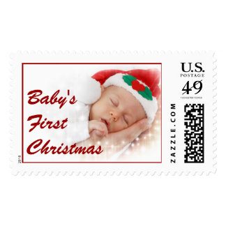 Design Custom Photo Stamps Babys First Christmas