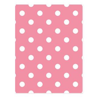Design dots white on pink sweet postcard
