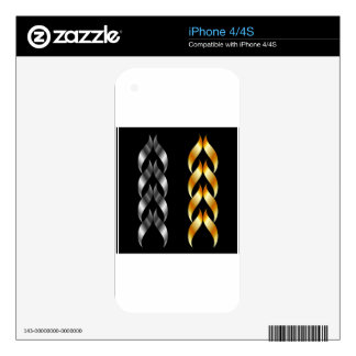 Design element in gold and silver iPhone 4S skin