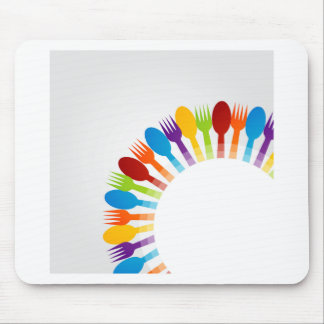 Design element using spoons and forks mouse pad