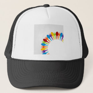 Design element using spoons and forks trucker hat