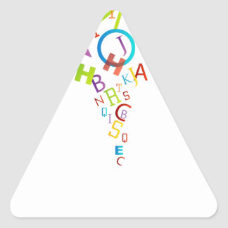 Design element with colorful alphabets triangle sticker