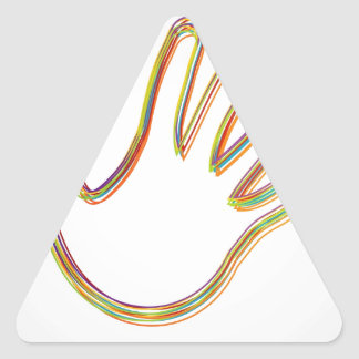 Design element with colorful hand triangle sticker