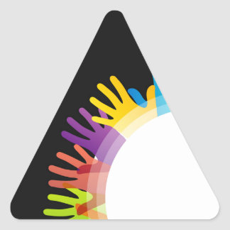 Design element with colorful hands triangle sticker