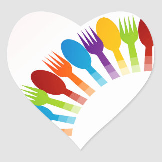 Design element with colorful spoons and forks heart sticker