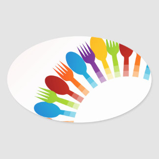 Design element with colorful spoons and forks oval sticker